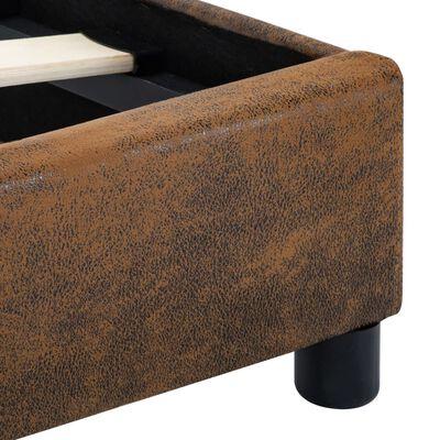 vidaXL Estructura de cama con LED tela marrón 180x200 cm