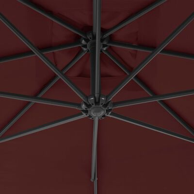 vidaXL Sombrilla voladiza con poste de acero rojo burdeos 300 cm