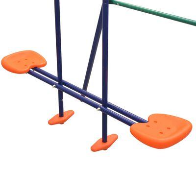 vidaXL Juego de columpios de 3 asientos y tobogán naranja