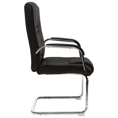vidaXL Silla de oficina voladiza de cuero sintético negra