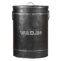 LABEL51 Cesto de la ropa sucia negro envejecido L 40x40x58 cm