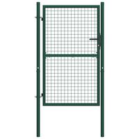 vidaXL Puerta de valla de acero verde 100x175 cm