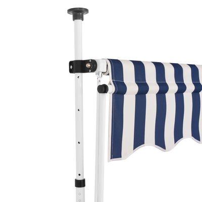 vidaXL Toldo manual retráctil 400 cm azul y blanco a rayas
