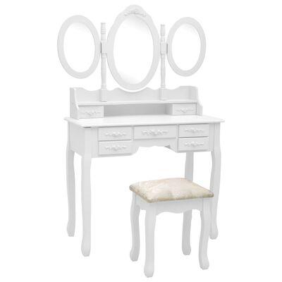 vidaXL Tocador con taburete y espejo triple plegable blanco