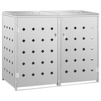 vidaXL Cobertizo contenedor de basura doble acero inoxidable 240L