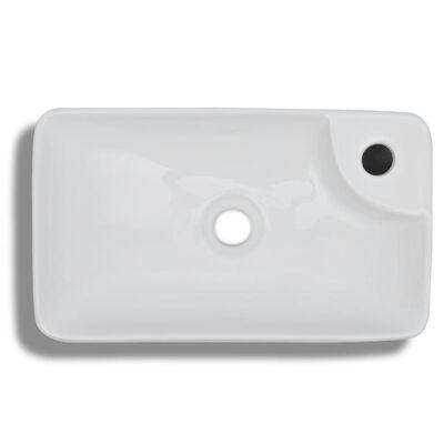 vidaXL Lavabo de cerámica con orificio de grifo y desagüe blanco
