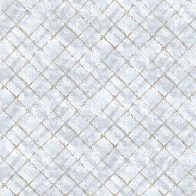 Homestyle Papel pintado Tiles azul y gris taupe