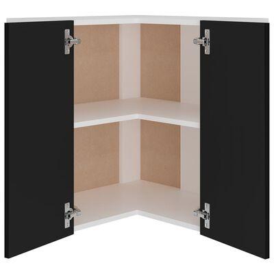 vidaXL Armario colgante de esquina aglomerado negro 57x57x60 cm