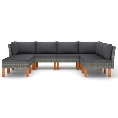 vidaXL Set de muebles de jardín 8 pzas y cojines ratán sintético gris