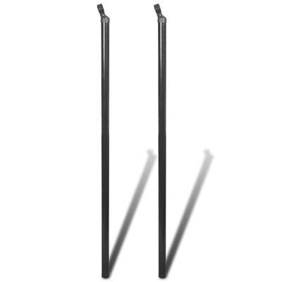 vidaXL Poste puntal de refuerzo para alambrada 2 unidades gris 150 cm