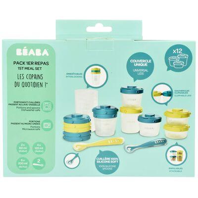 Beaba Recipientes para comida de bebé 1st Meal Set verde y azul