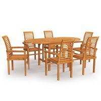 vidaXL Conjunto de comedor de jardín 7 piezas madera maciza de teca