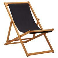vidaXL Silla de playa plegable madera de eucalipto y tela negra