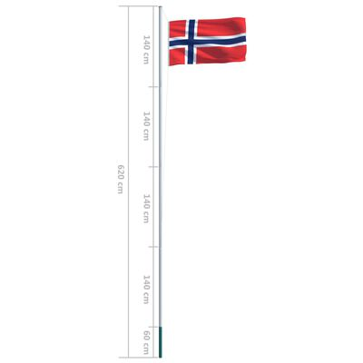 vidaXL Bandera de Noruega y mástil de aluminio 6,2 m