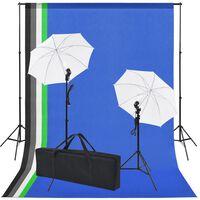 vidaXL Kit de estudio con 5 telones de fondo de colores y 2 paraguas