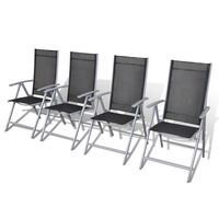 vidaXL Sillas de jardín plegables 4 unidades aluminio