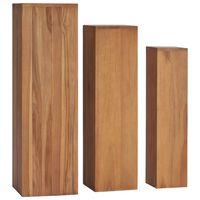 vidaXL Soportes para plantas 3 piezas madera maciza de teca