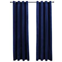 vidaXL Cortinas opacas anillas 2 pzas terciopelo azul oscuro 140x245cm