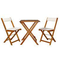 vidaXL Mesa y sillas bistró plegables 3 pzas y cojines madera maciza