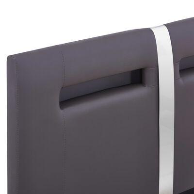 vidaXL Estructura de cama con LED de cuero sintético gris 90x200 cm