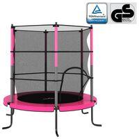 vidaXL Cama elástica con red de seguridad redonda rosa 140x160 cm