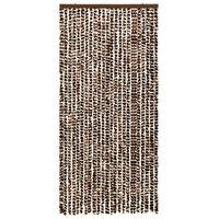 vidaXL Cortina mosquitera chenilla marrón y blanco 100x220 cm