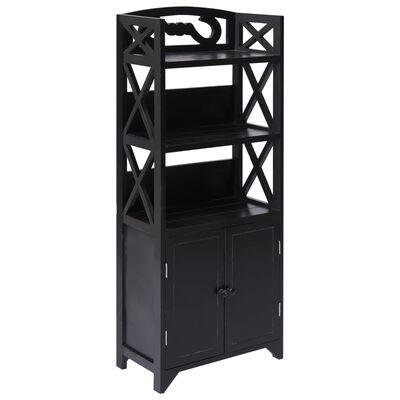 vidaXL Mueble de cuarto de baño madera Paulownia negro 46x24x116 cm