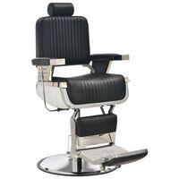 vidaXL Silla de peluquería de cuero sintético negro 68x69x116 cm