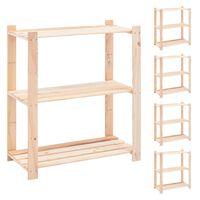 vidaXL Estantería 5 niveles 3 unidades madera pino maciza 150 kg