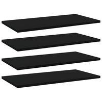 vidaXL Estantes para estantería 4 uds aglomerado negro 60x30x1,5 cm