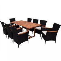 vidaXL Set comedor de jardín 9 piezas y cojines ratán sintético negro