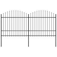 vidaXL Valla de jardín con puntas de lanza acero negro (1,5-1,75)x3,4m