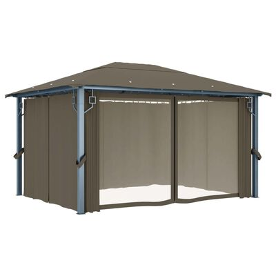 vidaXL Cenador con cortina gris taupe aluminio 400x300 cm