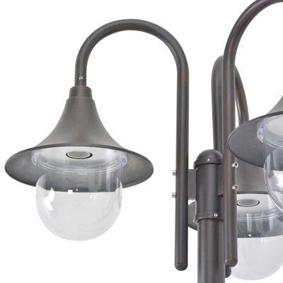 vidaXL Farola de jardín con 3 luces aluminio color bronce E27 220 cm