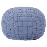vidaXL Puf de diseño trenzado de algodón azul 50x35 cm