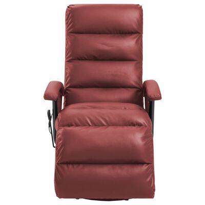 vidaXL Sillón de masaje reclinable TV cuero sintético color vino tinto