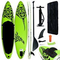 vidaXL Juego de tabla de paddle surf hinchable verde 366x76x15 cm