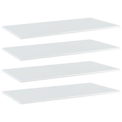 vidaXL Estantes estantería 4 uds aglomerado blanco brillo 80x20x1,5 cm