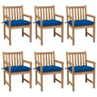 vidaXL Sillas de jardín 6 uds madera maciza de teca cojines azul