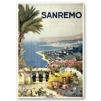 Cartel Turístico Vintage Sanremo - Cuadro Lienzo, Impresión Digital