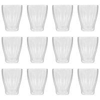 vidaXL Vasos de cristal térmico doble pared café con leche 12uds 370ml