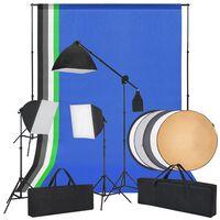 vidaXL Kit de estudio fotográfico con luces Softbox fondos y reflector