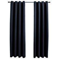 vidaXL Cortinas opacas con anillas de metal 2 piezas negro 140x175 cm