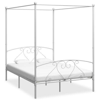 vidaXL Estructura de cama con dosel metal blanco 160x200 cm