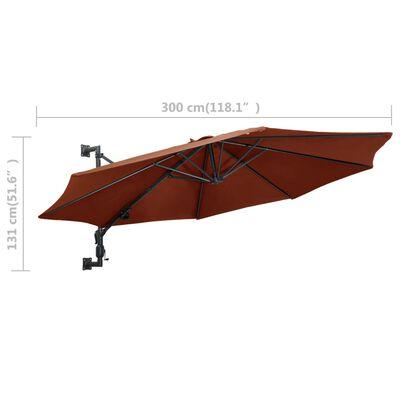 vidaXL Sombrilla de pared con palo de metal terracota 300 cm