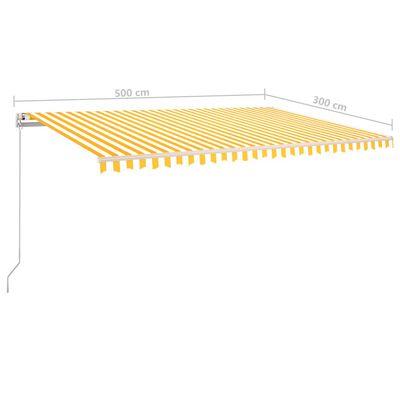 vidaXL Toldo manual retráctil amarillo y blanco 500x300 cm