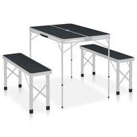 vidaXL Mesa de camping plegable con 2 bancos aluminio gris