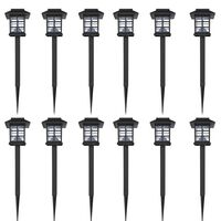 vidaXL Juego de lámparas solares 12 unidades con estacas 8,6x8,6x38 cm
