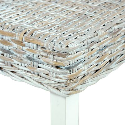 vidaXL Banco de ratán kubu y madera maciza de mango blanco 110 cm