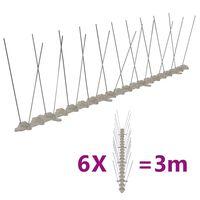vidaXL Set de 6 hileras de pinchos contra pájaros y palomas 2 filas 3m